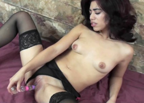 Sophia masturbates in black panties
