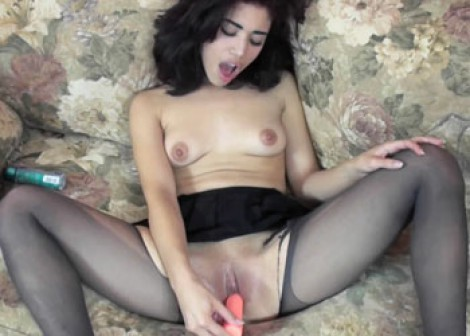 Petite Sophia plays in torn pantyhose
